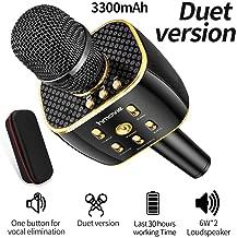 Karaoke Microphone Wireless, Dual Sing Duet Version 3300mAh Handhold Karaoke Mic Portable Wireless Microphone ,Dual Speakers Karaoke Machine for Outdoor Home Party KTV Playing Singing Music, Gift for Fun