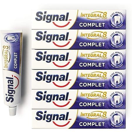 Signal Dentifrice Complet Integral 8 Antibactérien, Zinc Minéral d'Origine Naturelle, Action Anti-Plaque, Douceur, Protection & Soin Complet (Lot de 6x75ml)