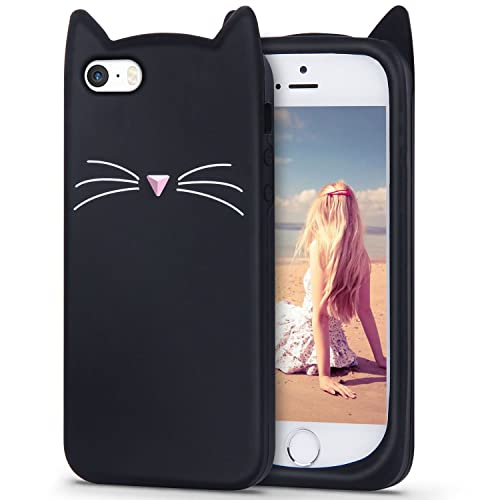 iPhone SE Silicone Case, iPhone 5s Cat Case, Imikoko Slim-Fit Anti-Scratch Shockproof Soft Silicone Case With Cute Cat Pattern for iPhone SE/5s/5 (4 inch) (Black)