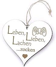 Bord hart leven, liefde, lachen - gokken - met motief - 13 x 12 cm