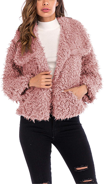 Allonly Women's Fashion Faux Fur Cashmere Lapel Collar Long Sleeves Coat Jacket Winter Outwear