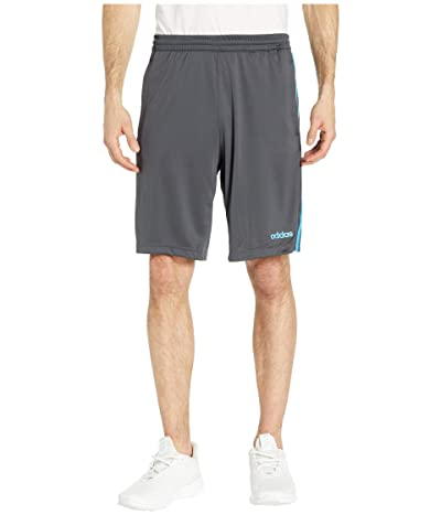 adidas D2M 3-Stripe Shorts (Dark Grey Heather/Solid Grey/Shock Cyan) Men