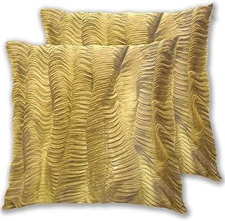 SAIAOS Tela Dorada Textura con Pliegues Diseño Patrón Textil Brillante Oro Fundas para Cojines Decoracion de Salon 2 Piezas 60x60cm