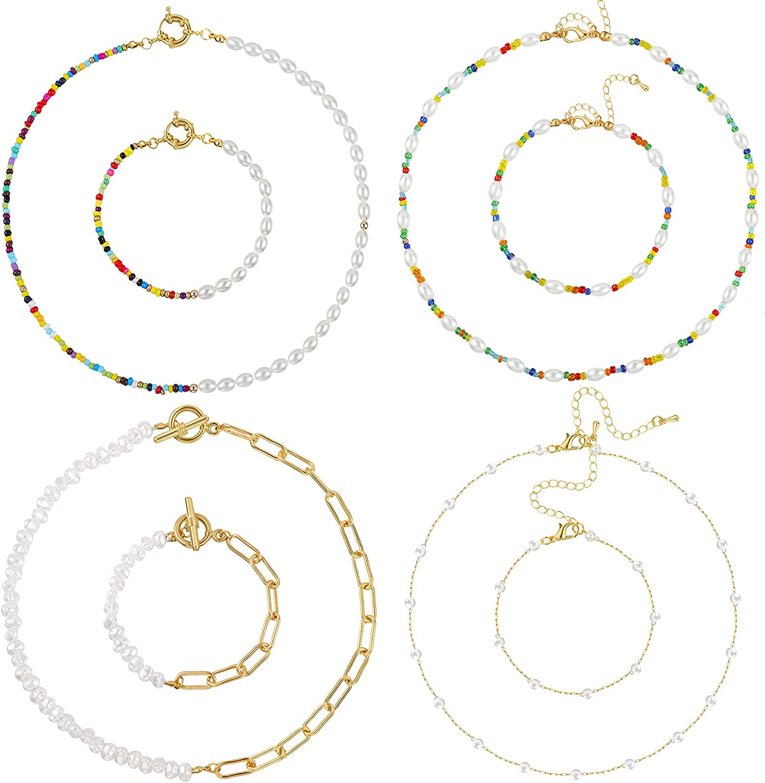 Fumete 8 Pieces Faux Pearl Bead Choker Necklace Bracelet Set Beaded Chain Necklaces Boho Beaded Bracelets for Women Jewelry