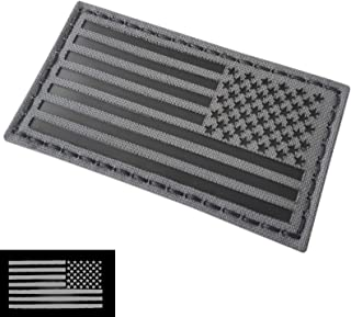 Wolf Gray 2x3.5 IR USA American Reversed Flag Infrared Stars and Stripes IFF Tactical Morale Fastener Patch