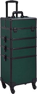 Yaheetech 4 in 1 Rolling Makeup Train Case - Aluminum 4-Wheel Cosmetic Trolley Dark Green