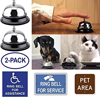 2-Pack Call Bells Desk Bell Office Service Hand Chime Loud Ring Classroom School Teacher Hotel Restaurant Elderly Home Kitchen Table Train Dog Kids Game Door Entrance Silver Metal by Gadgets of George