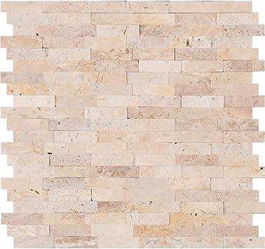 Peel Stick Ivory Travertine Honed And Split Face Mix Brick Pattern Mosaics For Kitchen Backsplash Wall Tile 5 Amazon Com