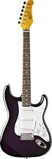 Oscar Schmidt OS-300-BK-A Double Cutaway SSS Electric Guitar, Black Purple Sunburst