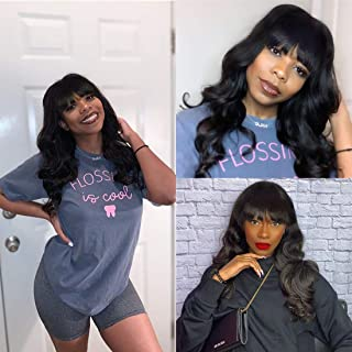 Sponsored Ad - Beaufox Human Hair Body Wave Wigs With Bangs for Black Women None Lace Front Wigs 100% Brazilian Virgin Hum...