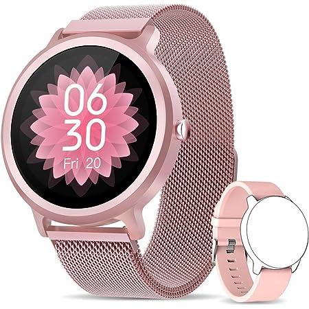 NAIXUES Smartwatch Donna IP68, Orologio Fitness Donna con 24 Modalità Sportive Smart Watch Impermeabile Contapassi Cardiofrequenzimetro da Polso Activity Tracker per iOS Android con 2 Cinturini (Rosa)