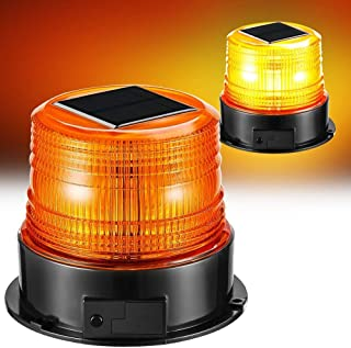 Solar Strobe Light,Wireless Waterproof Amber Flashing Beacon Lights with Magnet Base Flash Rotating/Steady Burning Fixed,Portable Emergency Warning Lights for Truck Vehicle Ship Bus Police Car