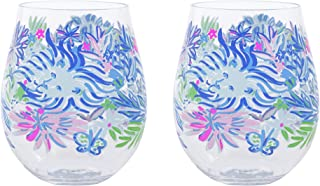 Lilly Pulitzer Acrylic Stemless Wine Glass Set of 2, 16 Ounces, Lion Around