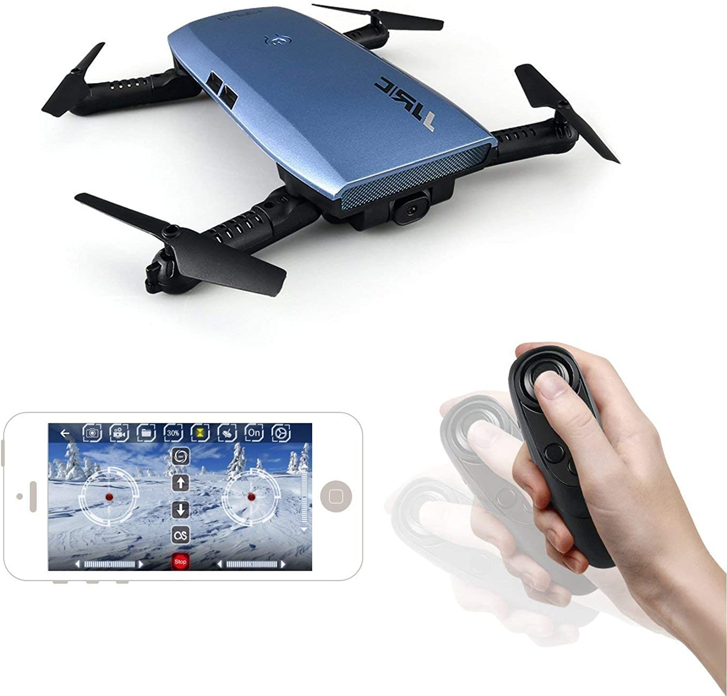 JSMeet JJR C H47 RC Drone with 720 HD Camera Elfie Foldable Selfie Helicopter Gravity Sensor Mode One Hand Remote Control Mini Quadcopter (bluee)