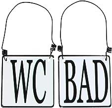 MACOSA SA8177 2-delige set WC & badkamer deurbordje emaille-look zwart wit 8 x 8 cm landhuis metalen bord instructiebord d...
