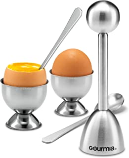 Gourmia GES9335 Egg Topper Set – 2 Egg Cups, 2 Spoons, 1 Shell Top Cutter – Easily Crack and Score Raw and Cooked Egg Shells – Premium Stainless Steel – For Serving, Separating and Preparing (silver)