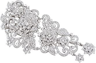 EVER FAITH Women's Wedding 5.9 Inch Flower Cluster Hair Comb Austrian Crystal
