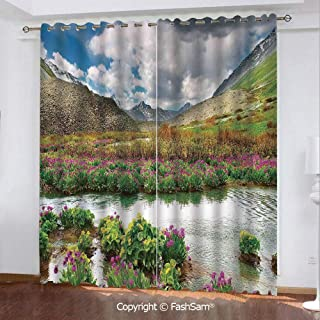 "Best Home Fashion Blackout Curtains Mountain Valley with Blooming Flowers Springtime Flora Window Treatment Pair for Bedroom(108""X62"")"
