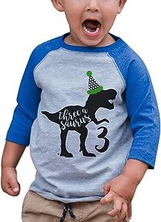 7 ate 9 Apparel Kid's Three Dinosaur Birthday Blue Raglan Tee