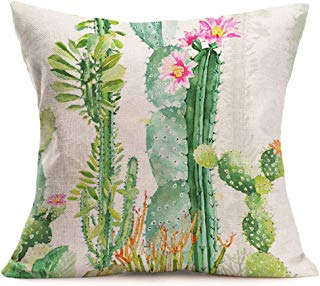 Smilyard Tropical Plant Pillow Covers Green Succulent Cactus Flower Rustic Pillow Case Summer Style 18x18 Inch Cotton Linen Cushion Cases Home Decorative Cushion Covers for Garden Sofa (OI-07)