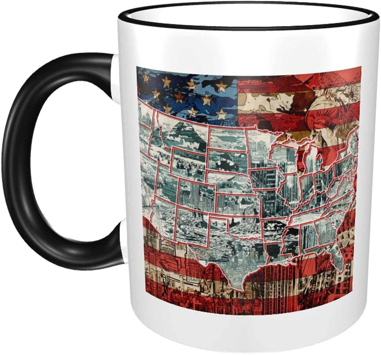United States Map Challenge the lowest price 11oz Large Coffee Ceramics excellence Print C Mugs Sturdy