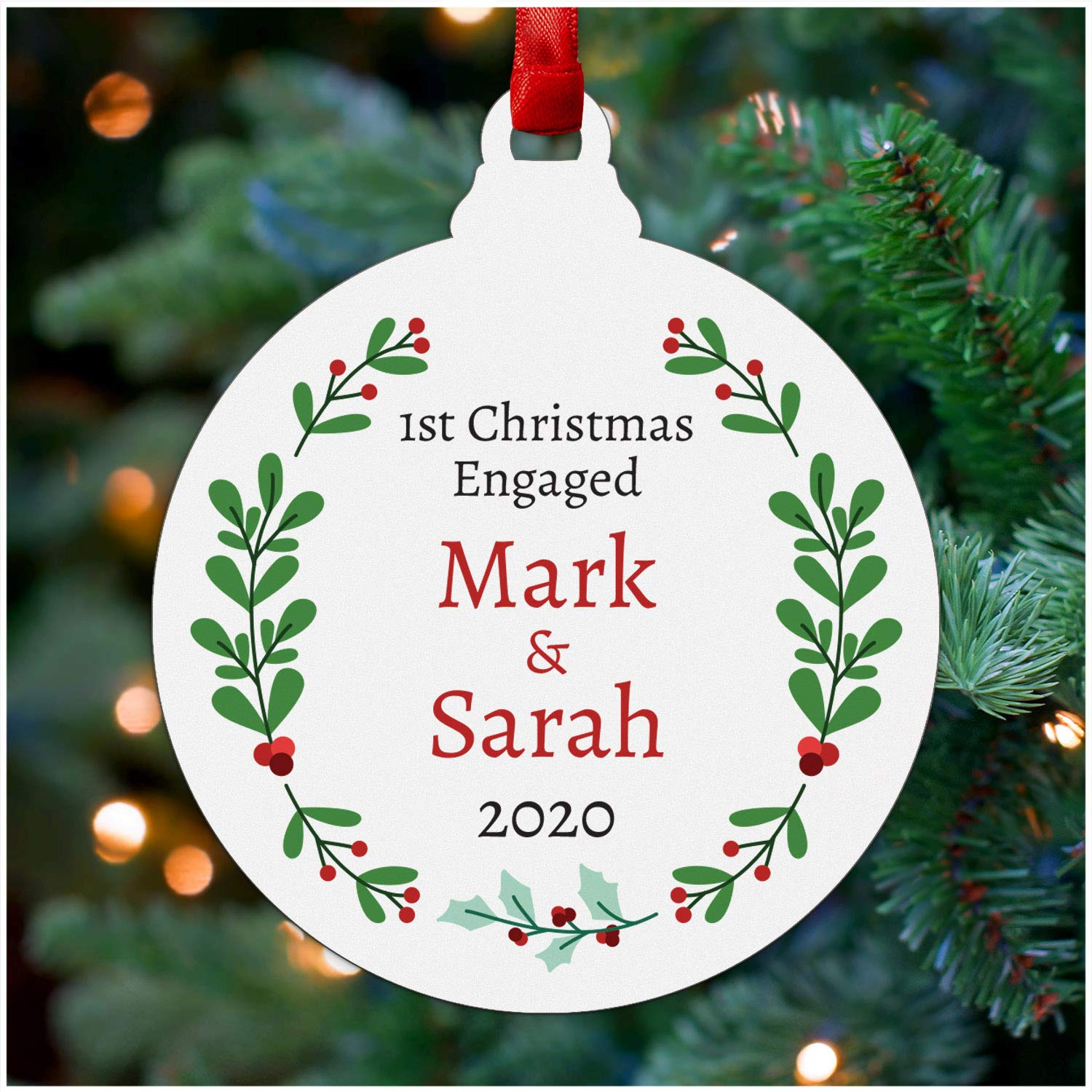 Our First Christmas Engaged Tree Decoration - PERSONALISED Christmas Engagement Gifts for Couples - Wooden Hanging Ornament for Fiance - Fiance Gifts for Him - Engagement Christmas Bauble