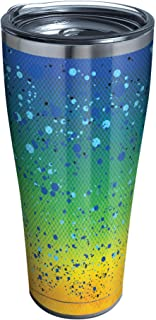 Tervis 1311152 Mahi Pattern Stainless Steel Insulated Tumbler with Clear and Black Hammer Lid, 30oz, Silver