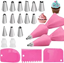 Pink Piping Bags and Tips set,2 Reusable Silicone Pastry Bag with 14 Stainless Steel Nozzle Icing Tips Set, 3 Icing Smooth...