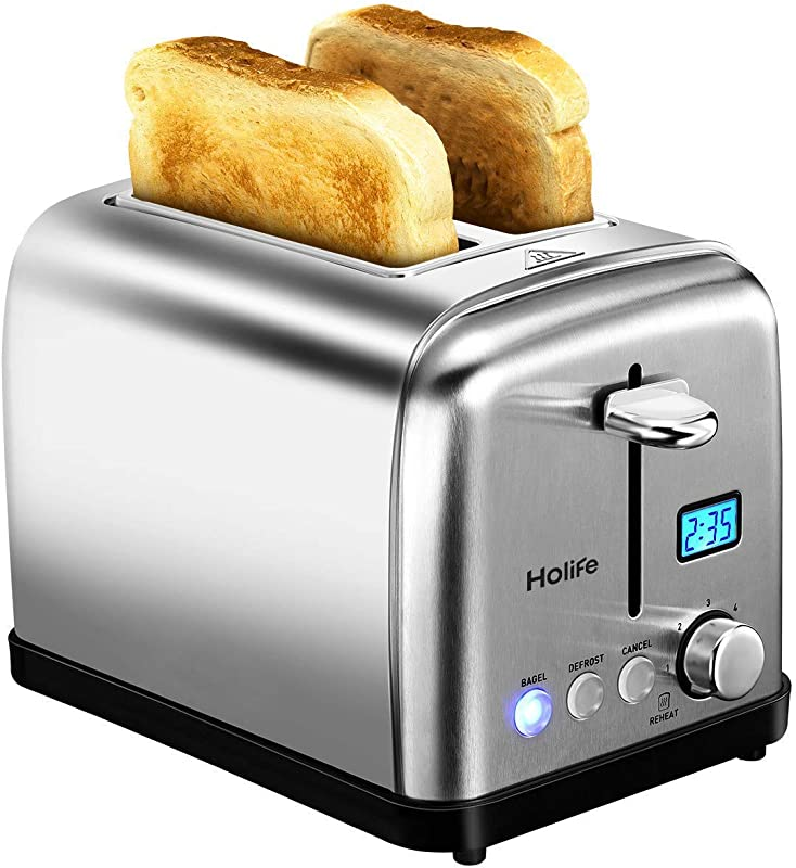2 Slice Toaster HOLIFE Stainless Steel Toaster LCD Timer Display Bagel Toaster 6 Bread Shade Settings Bagel Defrost Reheat Cancel Function Extra Wide Slots Removable Crumb Tray 900W Silver