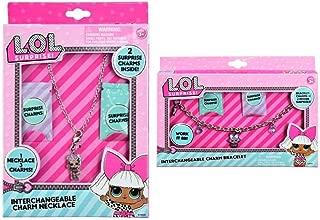 L.O.L. Surprise! Charm Necklace and Bracelet Set. Include 2 Surprise Bonus Charms for Each. (Necklace and Bracelet Set)