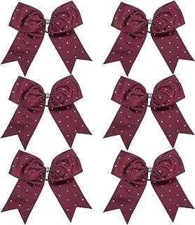 8 Inch Jumbo Cheerleader Bows with Rhinestones Ponytail Holder Cheerleading Bows Hair Tie 6 Pcs College (Dark Maroon)
