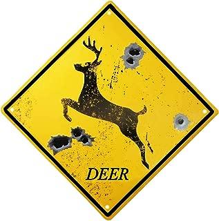 TISOSO Metal Running Deer Bullet Holes Crossing Signs Warning Street Road Tin Sign Vintage Outdoor Living Room Kitchen Decorations 12X12Inch