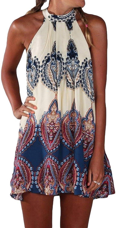 Bluetime Women's Casual Sleeveless Halter Max 64% OFF Max 63% OFF Short Print Neck Boho