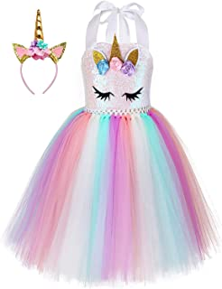 Unicorn Costume for Girls Dress Up Clothes for Little Girls Rainbow Unicorn Tutu with Headband Birthday Gift