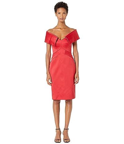 Zac Posen Double Face Duchess Draped Drop Shoulder Cocktail Dress (Hibiscus) Women