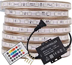 XUNATA LED Strip Lights, Bluetooth Control RGB 110-120V SMD 5050 60 LEDs/m Waterproof Rope Light Strip with 24Key IR Remote, Work with iOS & Android Music Time Control System (164ft/50m)