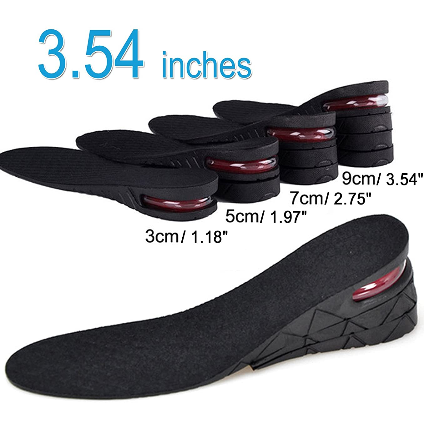 4-Layer Unisex Height Hight Increase Shoe Insoles Lifts for Men Women Shoe Pad Lift Kit Air Cushion Heel Inserts 4 Layer (3.54