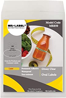 """Mr-Label 1.5"""" x 2.5"""" Glossy Crystal Clear Oval Labels - Waterproof and Tear-Resistant - for Laser Printer Only - Permanent..."""