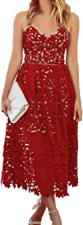 Women's Sexy V Neck Sleeveless Lace Dress