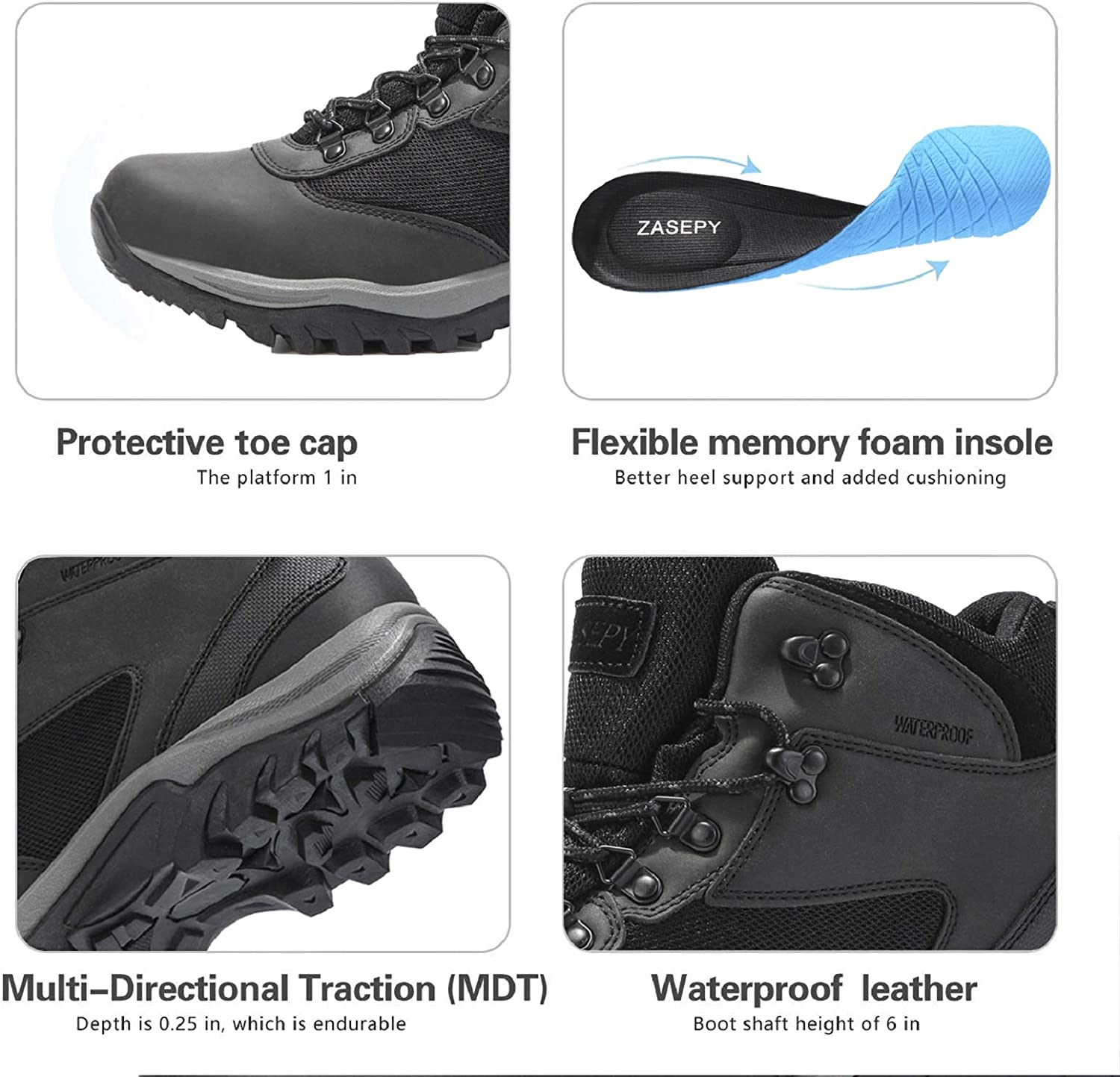 ZASEPY Mens Waterproof Hiking Boots Lightweight Outdoor Hike Shoes Non Slip Mid Top Trekking Backpacking Mountaineering Ankle Boot