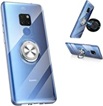 Huawei Mate 20 Transparent case,360° Rotating Ring Kickstand Protective Case,Silicone Soft TPU Shockproof Protection Thin ...