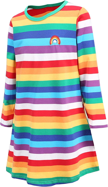 Boys Rainbow Striped Shirt Cotton Long Sleeve T-Shirts