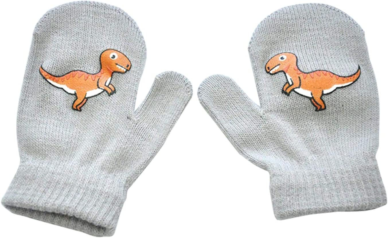 GUYANMAY Gloves Cartoon Dinosaur Children's Warm Gloves Winter Gloves for Kids Full Finger Kids Gloves Warm Outdoor Child Baby Mittens Warm (Color : Light Grey)