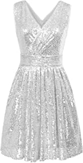 Kate Kasin Women Sequin Bridesmaid Dress Sleeveless Maxi Evening Prom Dresses KK199