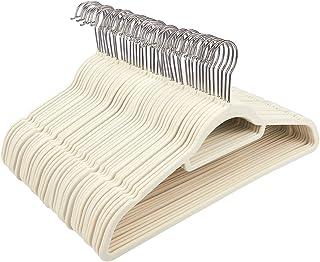 Juvale Ivory Velvet Hangers - Ultra-Thin, Velvet, No Slip, Clothes Hangers for Pants, Blouses, Dresses - 50 Count