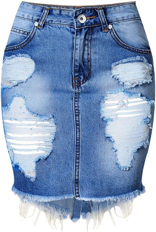 Keenerg Fashion Women Jeans High Waist Irregular Hem Back Split Denim Pencil Skirt for you