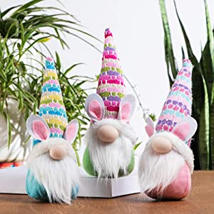 GMOEGEFT Handmade Easter Bunny Gnome, Swedish Gnome Plush Scandinavian Tomte, Spring Rabbit Holiday Decoration, Set of 3 (Blue,Green,Pink,Purple)