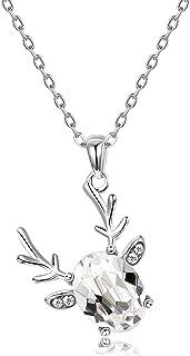 Swarovski Crystal Pendant Necklace S925 Sterling Silver Antlers Necklace Cute Deer Pendant Necklace for Girls Buckhorn Necklace for Women