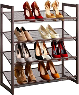 LANGRIA 4-Tier Metal Shoe Rack Utility Shoe Tower Shoe Organizer Shelf for Closet Bedroom & Entryway Bronze