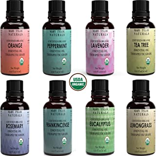 Certified Organic Essential Oils Set, Top 8 x 10 ml each, Lavender Peppermint Orange Lemongrass Rosemary Eucalyptus Tea Tree Frankincense for Aromatherapy